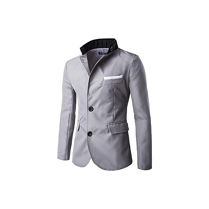 Dark Grey Men Jacket Casual Slim Fit Stylish Single Breasted Suit Blazer Mens Coat Male Fashion Stand Neck Formal Clothing China Size