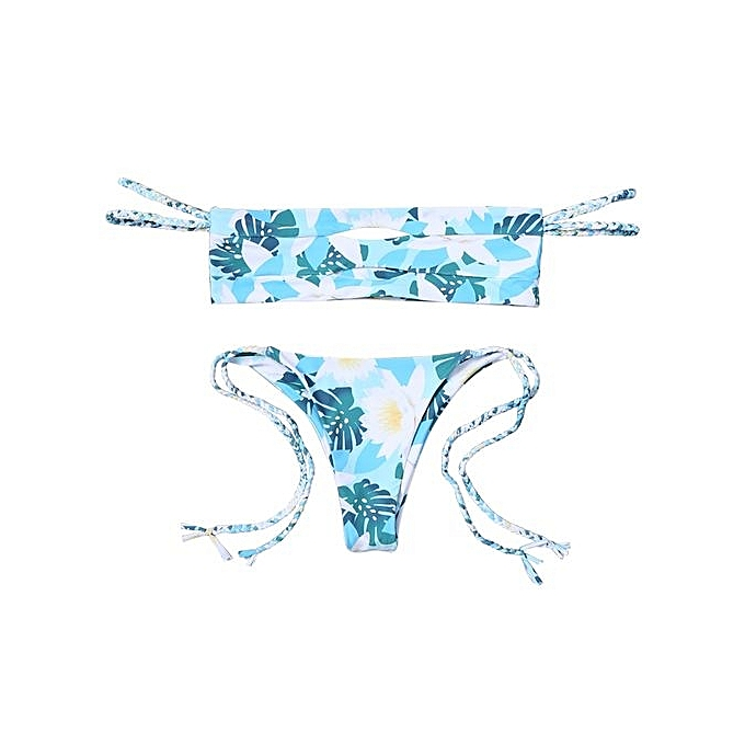 25f9c9775f66f2 ZAFUL Off The Shoulder Floral Cutout Bikini Set   Best Price