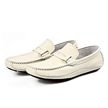 Creamy White Men's Full Grain Leather Shoes