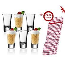 6 Pcs Tot/Shot Glasses (+ Free Gift Hand Towel).