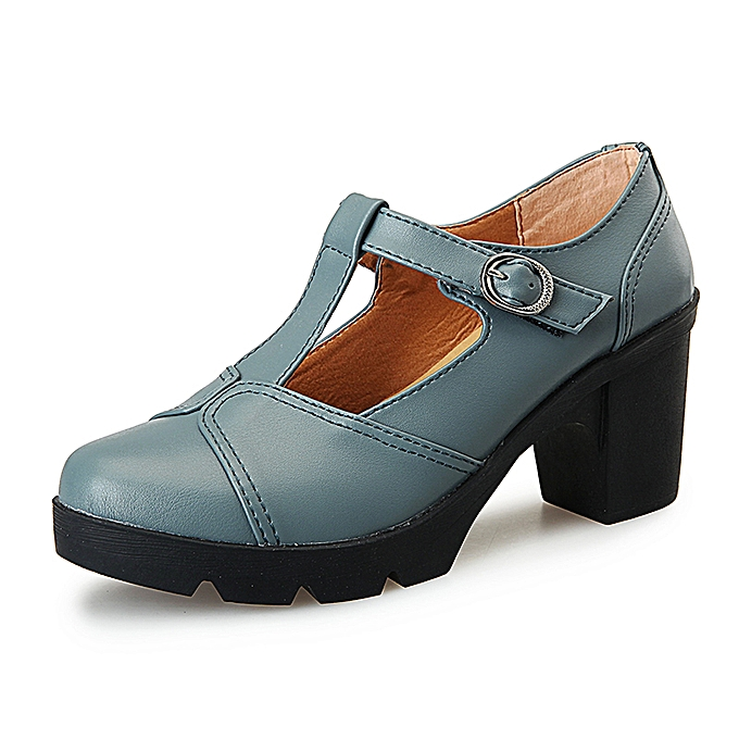 90105fddb4b Leather Shoes Women Casual Shoes Mid Heel Bullock Shoes Business Work  Footwear