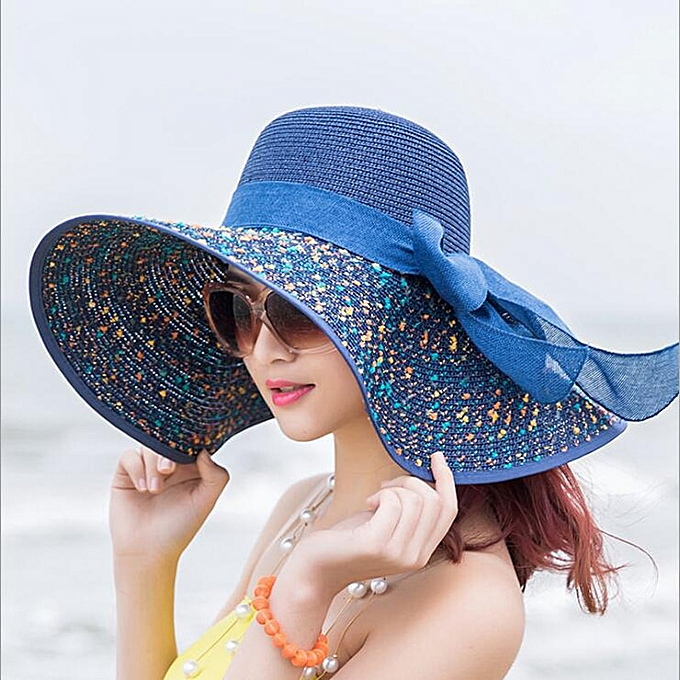 634a7909 Fashion Straw Hat For Women Summer Casual Wide Brim Sun Cap With Bow-knot  Ladies Vacation Beach Hats Big Visor Floppy Chapeau(Navy Blue)