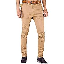 Soft Khaki Men's Trouser Stretch Slim Fit  Casual- Beige