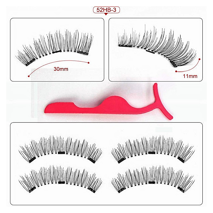 2da7a1291ee Lashes Magnetic 3 Magnet Flase Eyelashes 1 Pair Wearing Without Glue 3D  Rich Style Thick Eyelashes