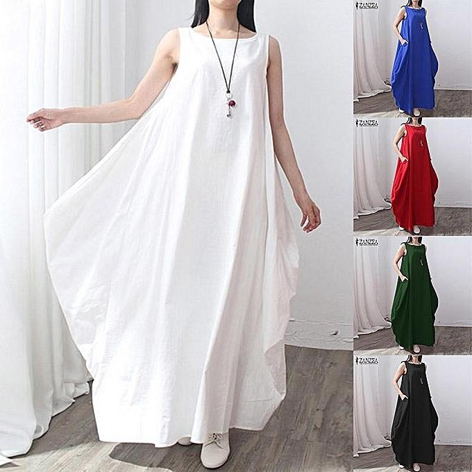 82e111d8992e ... Casual kaftan Linen Summer Dress Women Elegant Loose Sleeveless O Neck  Dress Cotton Long Maxi Dress
