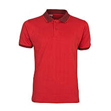 Red Men's T-Shirt With Checked Collar