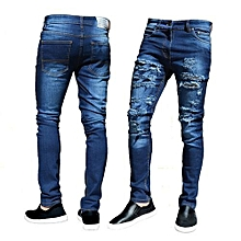 f120f96a885 Casual Denim Men Jeans Hip Hop Masculina Holes Washed Destroyed Trousers  Ripped Slimfit Skinny Pants-