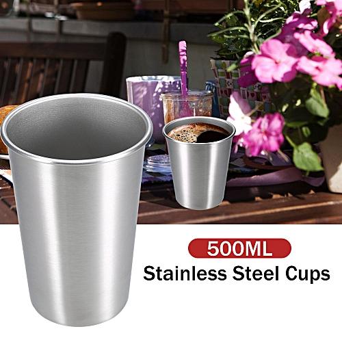 4PCS Stainless Steel Cups 500ML Travel Beer Mug Camping Picnic Juice Water  Milk Cup Broken Resistant Cup