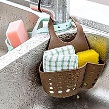 Portable Hanging Silicone Kitchen Gadget Storage Organizer, Sponge Sink Holder Bathroom-Brown