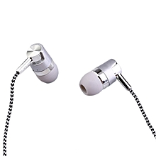 KY-38 Color Cloth Line Heavy Bass Sound In Ear Universal Mobile Phone Headset silver