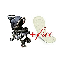 Baby Stroller/ Foldable Pram Portable Baby Stroller With Universal Casters- Black with a free Stroller Liner