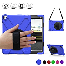 Full-body Heavy Duty Protective Case with A 360 Degree Swivel Kickstand / A Hand Strap / A Shoulder Strap for Apple IPad Air HSL-G