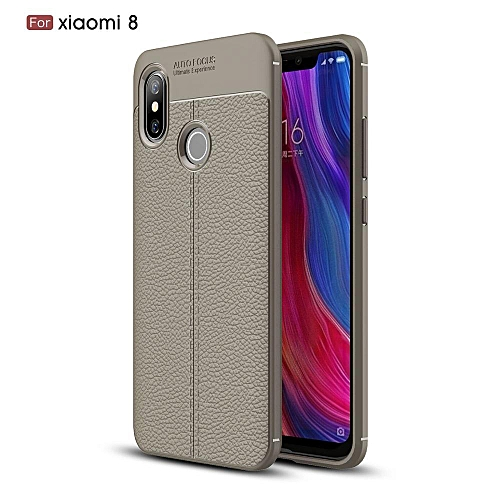san francisco d445a 4cbf4 For Xiaomi Mi 8 Case Luxury Litchi Pattern Leather Cover For Xiaomi Mi 8  Casing (Grey)