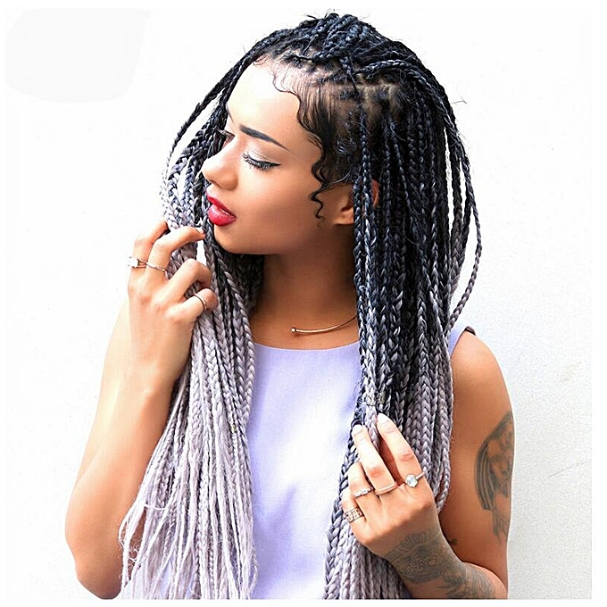 Buy Generic Dirty Wig Female Color Gradient Chemical Fiber Big Braid