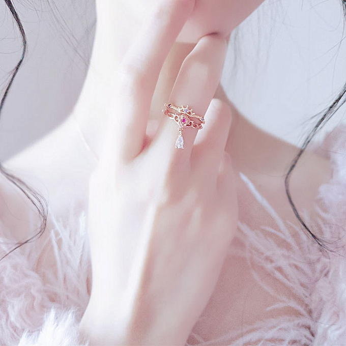 bc4a35bf4a02e Is Japanese-style lightly extravagant UT cooperation United States young  girl doctrine 925 layer rose drop of water ring two set rings