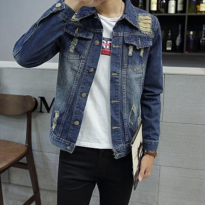 Blue 2018 New Korean Men S Casual Denim Jacket Men S Jacket Youth Slim Men S Jeans Tops
