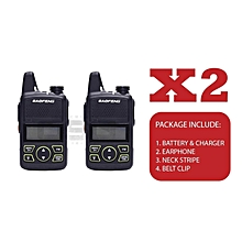 BAOFENG - BF-T1 Mini UHF Walkie Talkie FM Radio with touch 400-470MHZ With Neck Stripe, Clipper, Charger, Battery, Earphone 3-5KM [ x2 Unit ]