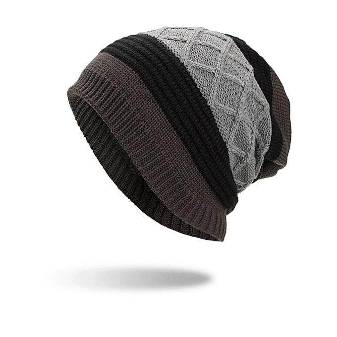 Lesov Knitted Beanie Hat Men Warm Plush Velvet Winter Hats For Men Stripe Hip  Hop Slouchy 8ea33370b73