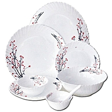 RF5037 Dinner Set 40 pcs - White with Coloured Patterns .