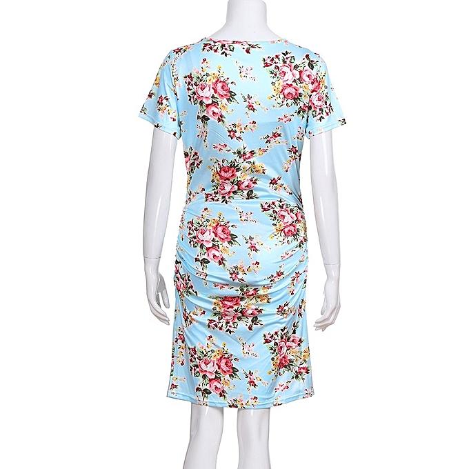 b93acbc1d7 ... huskspo Women s Pregnancy Floral Print Dress Maternity Short Sleeve  Sundress Clothing ...