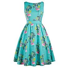 Floral Print Swing Flamingo Dress - Green