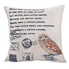 Unisex Bird Square Linen Pillow - White