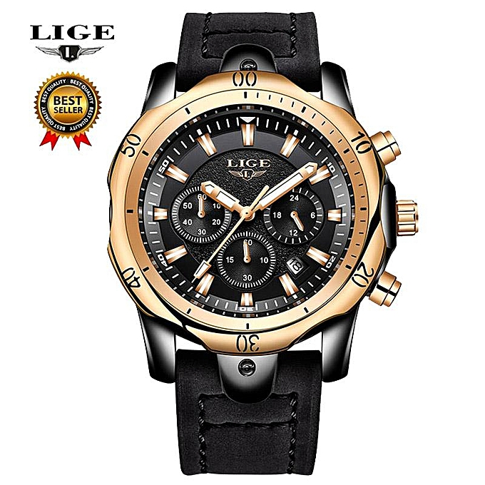 aad2dff677a 2018 LIGE New Mens Watches Brand Luxury Quartz Watch Men Casual Leather  Military Waterproof Sport Wrist
