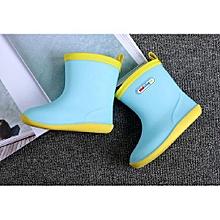 Waterproof Child Soild Rubber Infant Baby Rain Boots Kids Rain Shoes- Sky Blue