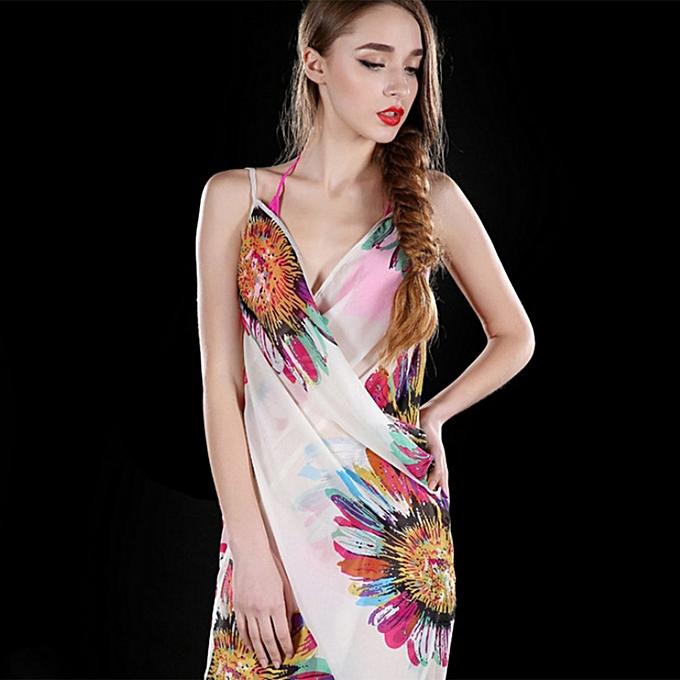 279209c2ad8 ... Women Sexy Summer Floral Chiffon Bikini Cover Up Beach Dress Swimwear  Wrap ...