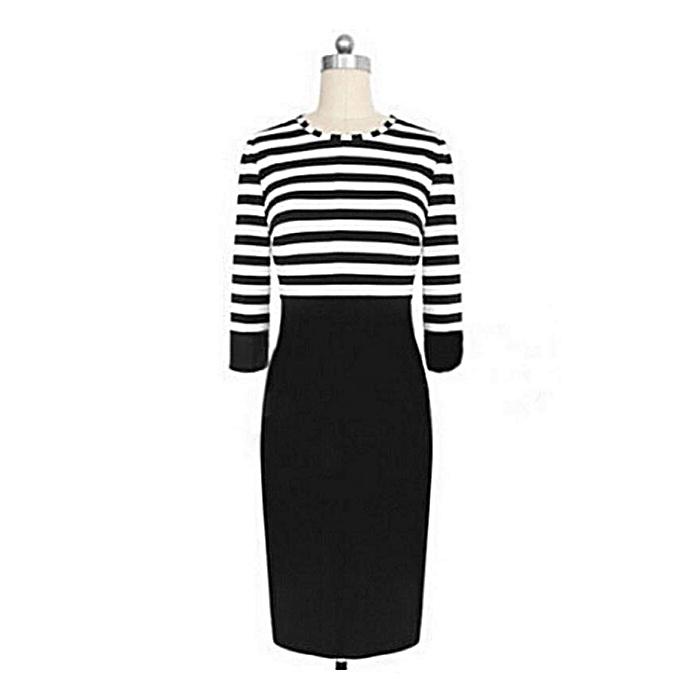 a65146624 Fashion Plus Size Office Midi Dresses Half Sleeve Striped Women's Wear To  Work Pencil Dress-black - black - L