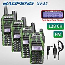 4 x Baofeng UV82 Walkie Talkie 5W VHF UHF UV-82 Portable Walkie Talkies 2800mAh Two Way Radio + Free PPT Earpiece