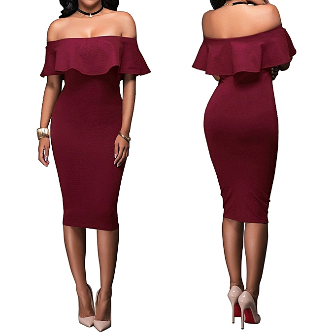 1633be9ba49 Fashion Women Off Shoulder Short Sleeve Bodycon Evening Party Dress Off  Shoulder Lady Dress -Wine