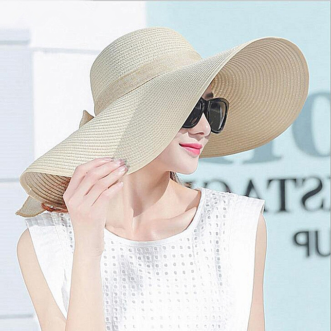 c4d7a4219bca15 simple Elegant Style Summer Large Brim Straw Hat Adult Women Girls Fashion Sun  Hat Uv Protect