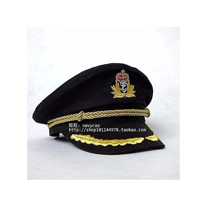 dad902f813d ... Unisex Men Deluxe Sailor Hat Officer Stag Night Nautical Fancy Dress  Captain Cap Black ...
