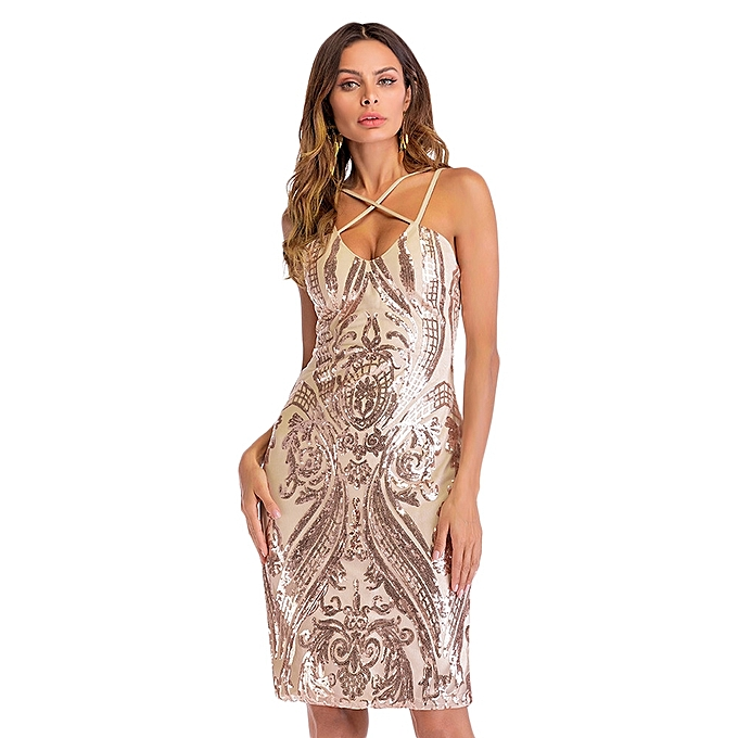 2c343d3a84 Sexy Plunge Neck Criss-cross Spaghetti Strap Backless Slit Sequins Women Bodycon  Dress -ROSE