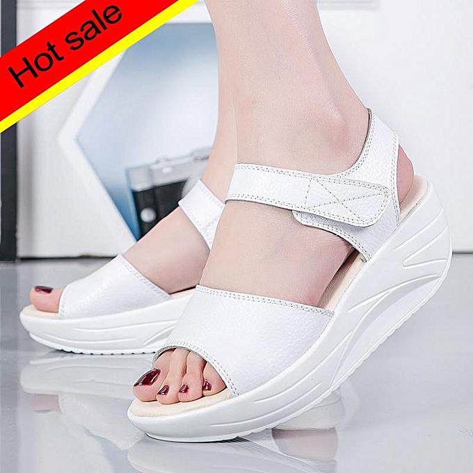 32e6f61807f Women Sandals Summer White Wedge Sandals Open Toe Platform Ladies Gladiator  Sandals Women