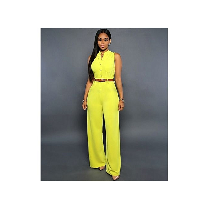 aa2104b815f Popular S-2XL Plus Size Large Casual Belted Wide Leg Full Length Women Jumpsuit  Jumpsuits