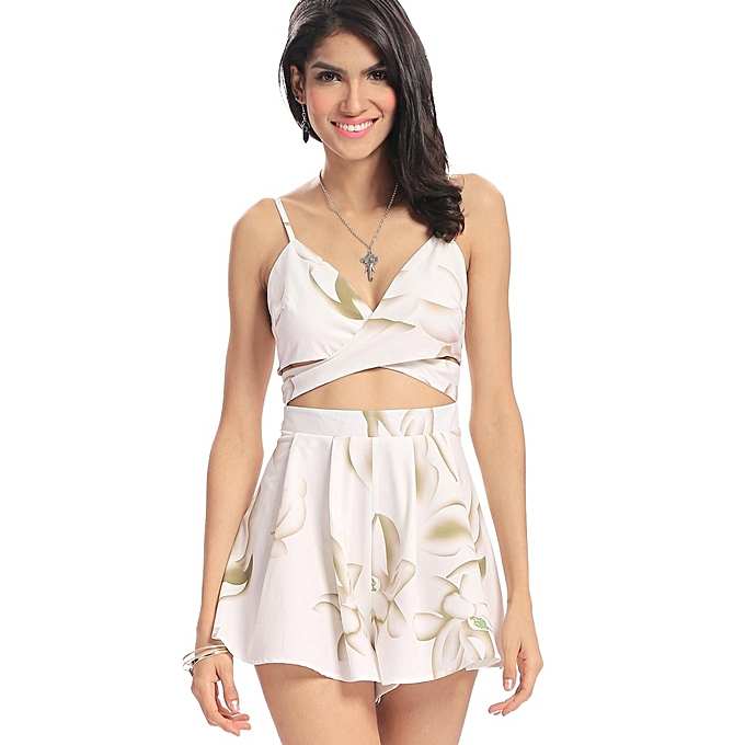 1a5e0af0e4 Yoins Women New High Fashion Clothing Casual V-neck Sleeveless Floral Print  Playsuit with Cut
