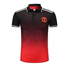 High Quality Brand Sports Soccer Polo Shirt Summer New World Cup Fashion T-Shirts-Black Red