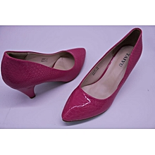 Red Ladies Pointed Cobra Skin Court Shoes