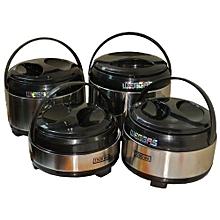 4 Piece Insulated Food Server Hot Pots Set Insulated Steel Casserole -Silver & Black