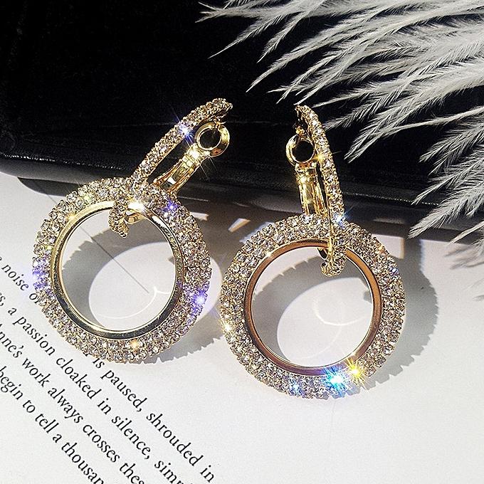 Douajso New Fashion Luxury Round Diamond Earrings Women Silver Gold Rosegold Glitter Stu