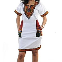 Dashiki African print mini casual dress.