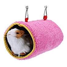 Small Pet Birds Hanging Cage Bed Parrot Squirrel Warm Tunnel Hammock House (Pink L)