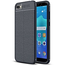 Litchi Texture TPU Protective Case for Huawei Y5 Prime (2018)(Navy Blue)
