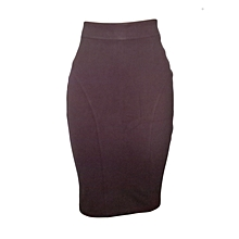 Chocolate brown Official pencil skirt-H129.