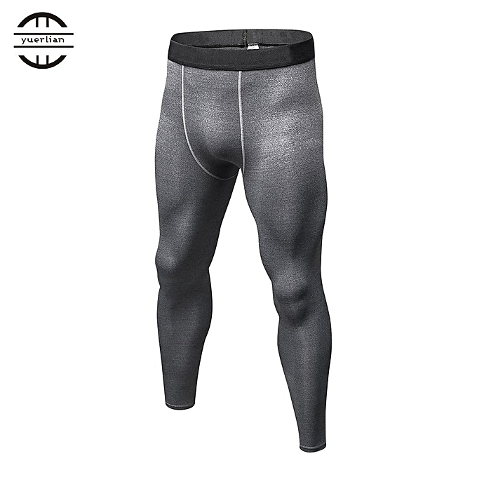 2031ba1da6 Men Solid Color Compression Pants Tights Casual Bodybuilding Skinny Leggings  Gray