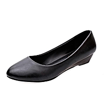 Slip On Office Wedges Pumps Shallow  Women Patent Leather Casual Shoes (Black)