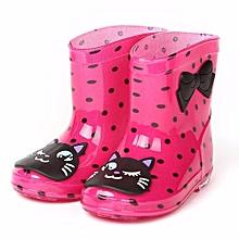 Waterproof Child Animal Rubber Infant Baby Rain Boots Kids Children Rain Shoes- Hot Pink