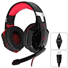 KOTION EACH G2200 Gaming Headphone 7.1 Surround USB Vibration Game Headset Headband Headphone with Mic LED Light for PC Gamer - BLACK AND RED
